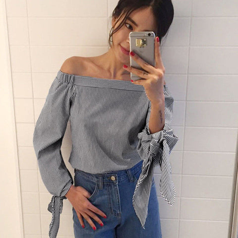 2017 Plus Size Women Sexy Blouses Slash Neck Off Shoulder Bow Long Sleeve Casual