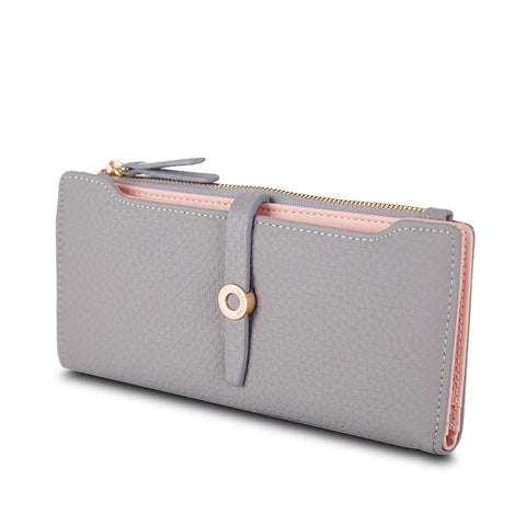 Women Leather Long Wallet Clasp Purse Money Coin Card Holders wallets Carteras - JKK Mart
