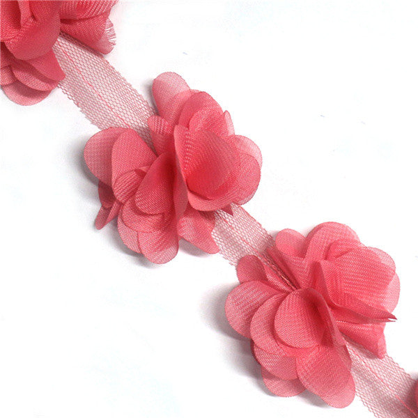 1 Yard 3D Flower Lace Ribbon Trim Clothing Decorative Ribbon Home Handmade Patch