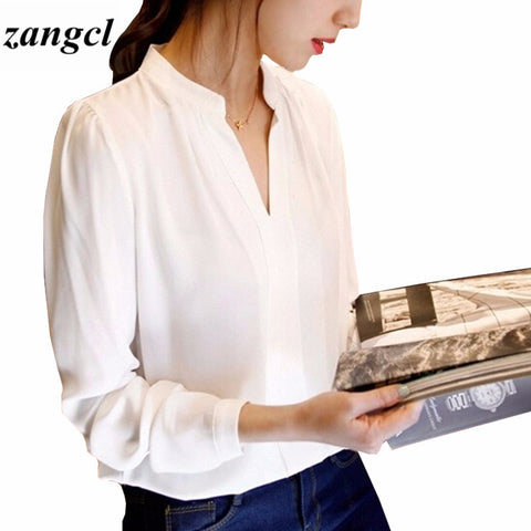 Casual White Women Blouse Ladies Solid Elegant V-neck Blouses Long Sleeve OL Off - JKK Mart