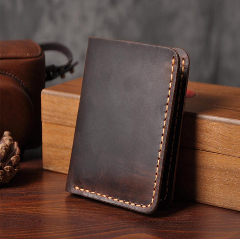 Handmade Vintage Crazy horse Genuine Leather Wallet Men Wallet Leather Men Purse