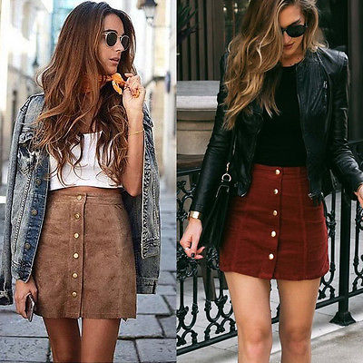Suede leather women skirt high waist skirts with button