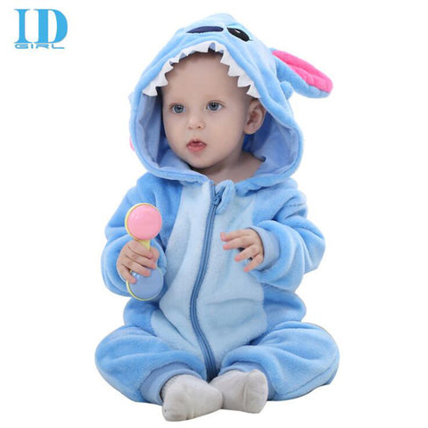 Baby Boys Girls Jumpsuit Clothes Infant Romper Hooded Toddler Cute Stitch Costum - JKK Mart