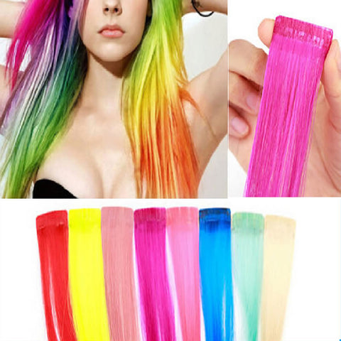8colors for choose COS European and American punk  color streaked wig piece wig - JKK Mart