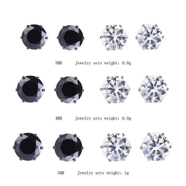 8fe919970 6 Pair/lot AAA Cubic Zirconia Earrings For Men Women Stainless Steel Round  Black -