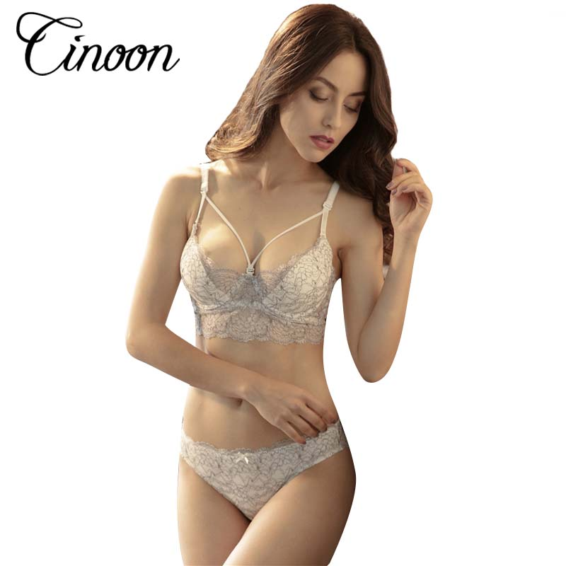 f36ab98b0c5d4 Women 3 4 Cup Ultra-thin Sexy Bra Set Unlined Push Up Underwear adjustable