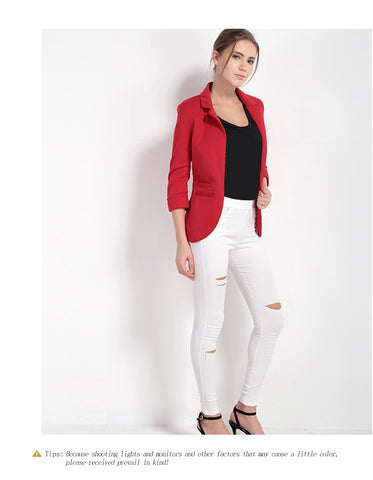 Fashion Women Blazer Three Quarter Sleeve 7 Colors Slim Fit Coat - JKK Mart