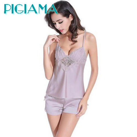 Women Pajamas Sexy Pyjama Set Nightsuit Lace Silk Straps Bathrobe Women Sleepwear Shorts Pijamas Home wear - JKK Mart
