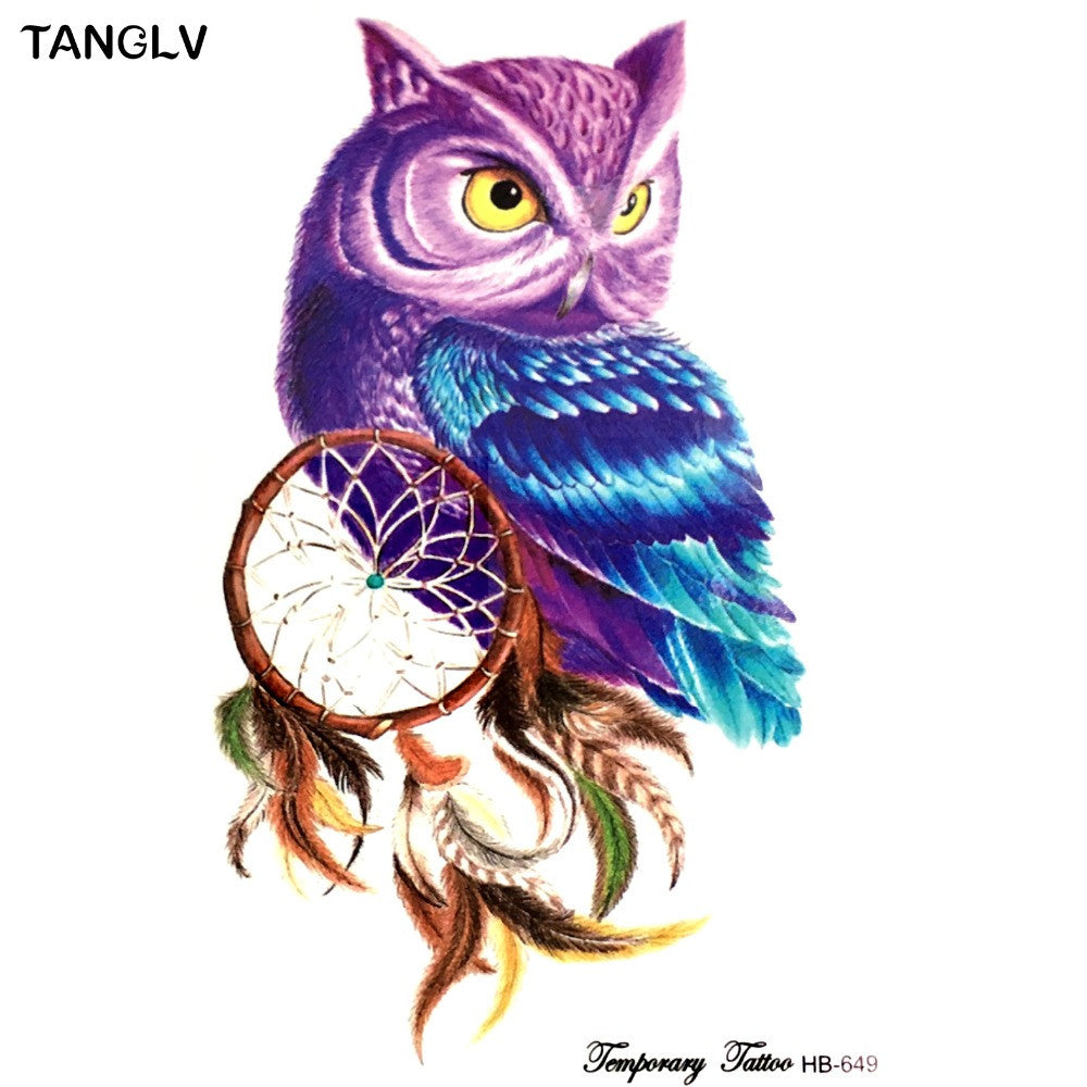 1 temporary tattoo color owl dream catcher tattoos stickers big womens waterpro