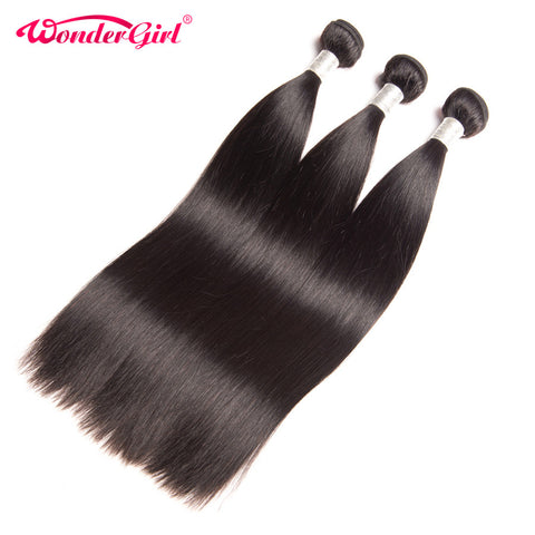 Brazilian Straight Hair 100g Human Hair Bundles Natural Color Remy Hair Weaving - JKK Mart