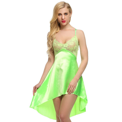 Ladies Sexy Satin Night Dress Lace Women Sleepwear Sleeveless Nighties V-neck Ni - JKK Mart