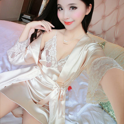Women Silk Nightdress Set Robe &Nightgown Sexy Dress Twinset of Sleepwear - JKK Mart