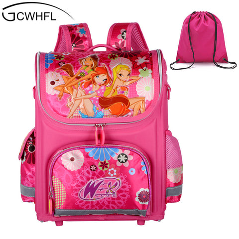 Orthopedic Schoolbag Girls Backpacks For School Kids Rucksack Children Bag Princ - JKK Mart