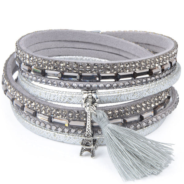 13 styles Candy Wide Crystal Leather Velvet Bracelet Magnetic Buckle Bohemian Ta