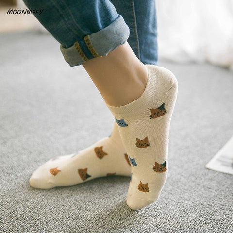 New cat face women's cotton socks short tube spring and summer - JKK Mart