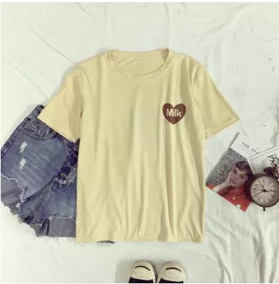 Women's T-Shirt Summer O-Neck Tee Soft Love Heart Milk Box Printed Short-sleeve Top Bottoming Fashion Tee Shirt