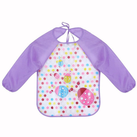 Long Sleeve Waterproof Shirt Baby Bibs Multi-Color Toddler Scarf Feeding - JKK Mart
