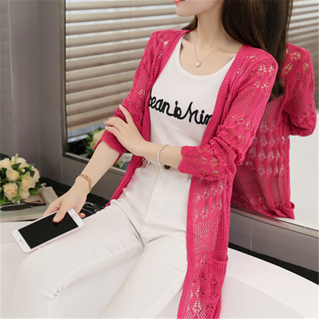 fc6e14374445 Ladies Crochet Tops Summer Hollow Out Knitted Sweaters Cardigan Fashion Women  Beach Cardigan Spring Autumn