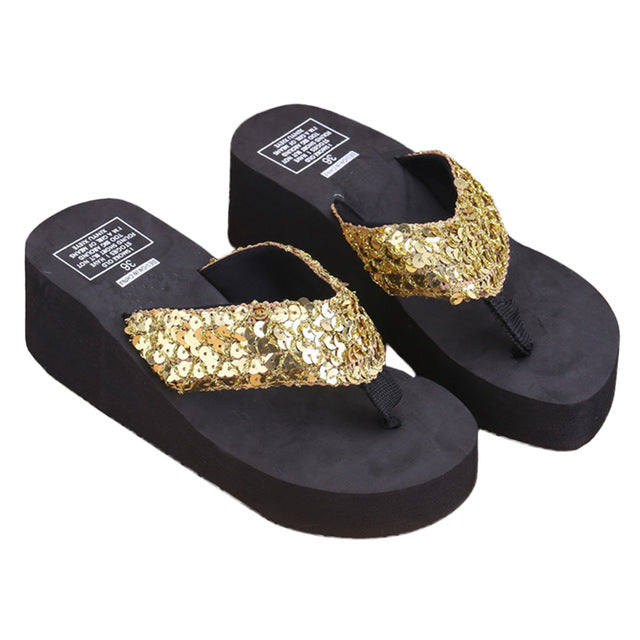 3bfcce9f6752 1Pair Women Comfortable Summer Soft Wedge Sandals Sequin Thong Mid Heels  Platform Slippers