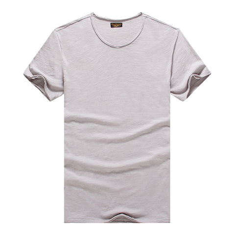 Men's T-shirt V-neck Slim Fit Pure Cotton Fashion Short Sleeve Tops Casual T-shirt