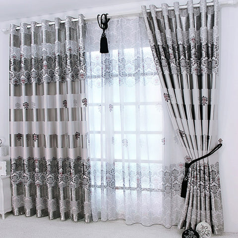 1 pc New Curtains for Windows Drapes European Modern elegant noble printing shad - JKK Mart