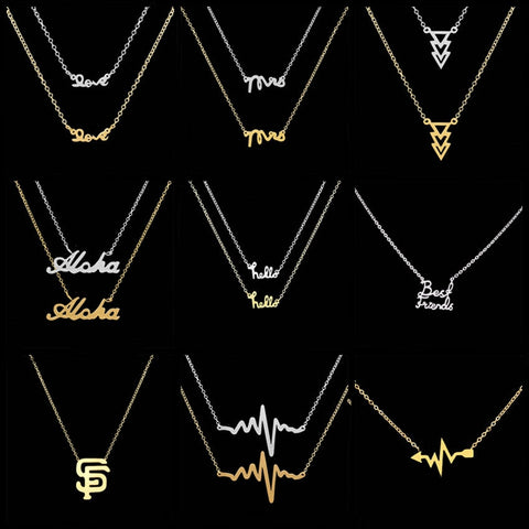 Women Stainless Steel Letter Aloha Pendant Necklace Link Chain Personalize Alphabet Love Necklaces Kids Jewellery Best Friend Gift