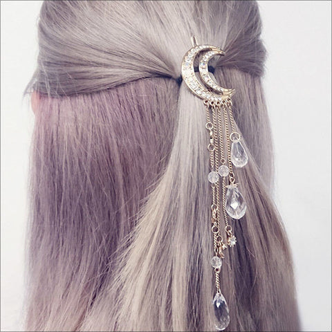 New Charming Gold/Silver/Black/Rose Gold Color Crystal Moon Hair Clip Tassels Long Hair Accessories - JKK Mart