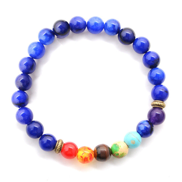 7 Chakra Bracelets Natural Stone Black Lava Beads Bracelet Women Men