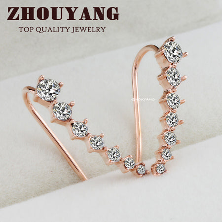 7pcs CZ Rose Gold Color Ear Hook Stud Earrings Fashion Jewelry ZYE534 ZYE548 ZYE - JKK Mart