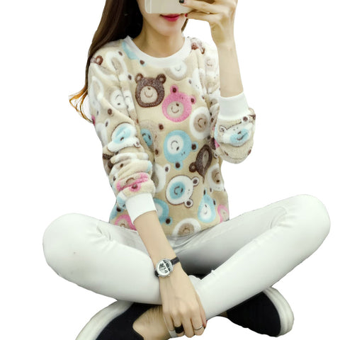 Women Sweaters Fashion Winter Wool Pullover Cashmere Knitted Sweater Warm Flannel