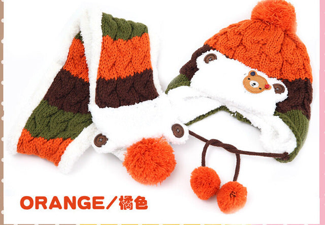0193117a95c New Korean version Bear boys Knitted hats winter 2 pcs baby girl scarf hat  set A