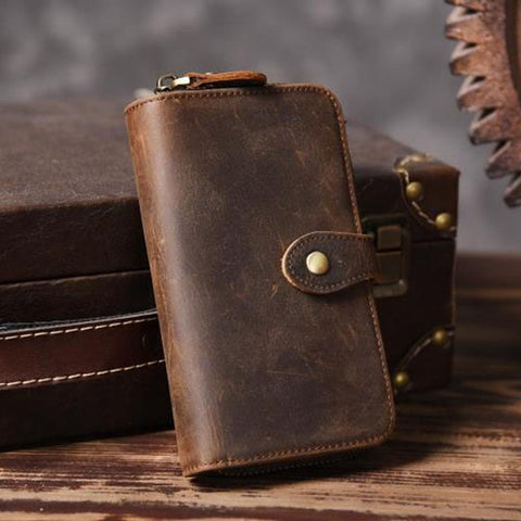 Vintage Crazy horse Genuine Leather Men Wallet Purse Long style Leather Wallet m