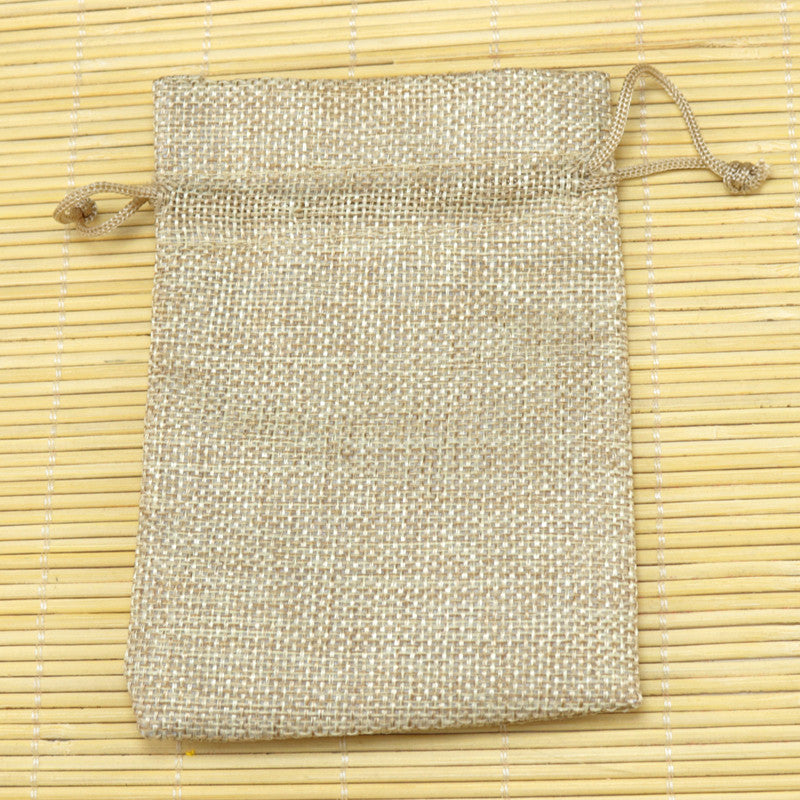 10pcs 13*18cm Natural Color Jute Bag burlap Drawstring Bags Candy Gift Beads Jewelry Bags For Storage/ Wedding Decoration - JKK Mart