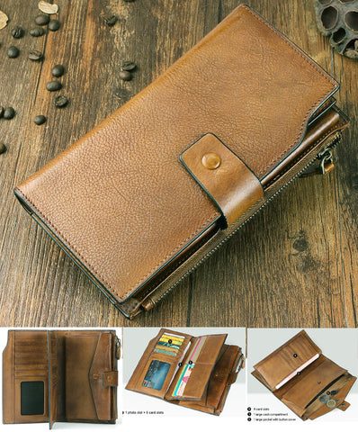 Fashion Vintage Genuine Leather Wallet men Leather Long Wallet male purse Clutch
