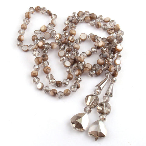 Fashion Bohemian Tribal Jewelry Long Knotted Crystal and Shell Pendant Necklace