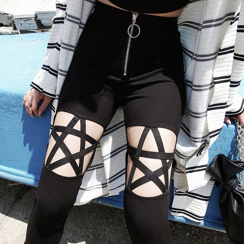 Punk Gothic Women Leggings Hollow Out Five-Pointed Star Pant