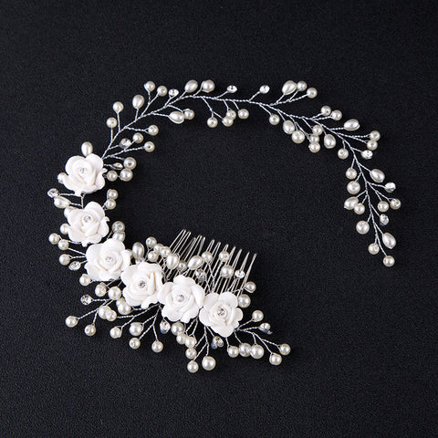 Hair Accessories For Women Charming Pearl Flower Hairband Wedding Bride Tiaras Length Headband Noiva Floral Hair Jewelry - JKK Mart