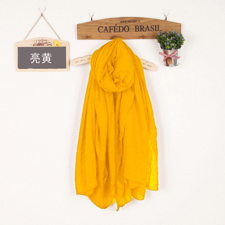 JKK Mart Winter and Autumn Scarf Women High Quality Shawls And Scarves Linen Cot bright yellow, Scarves - JKK Mart, JKK Mart - 22