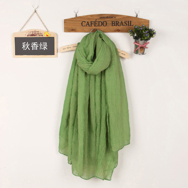 JKK Mart Winter and Autumn Scarf Women High Quality Shawls And Scarves Linen Cot green, Scarves - JKK Mart, JKK Mart - 13