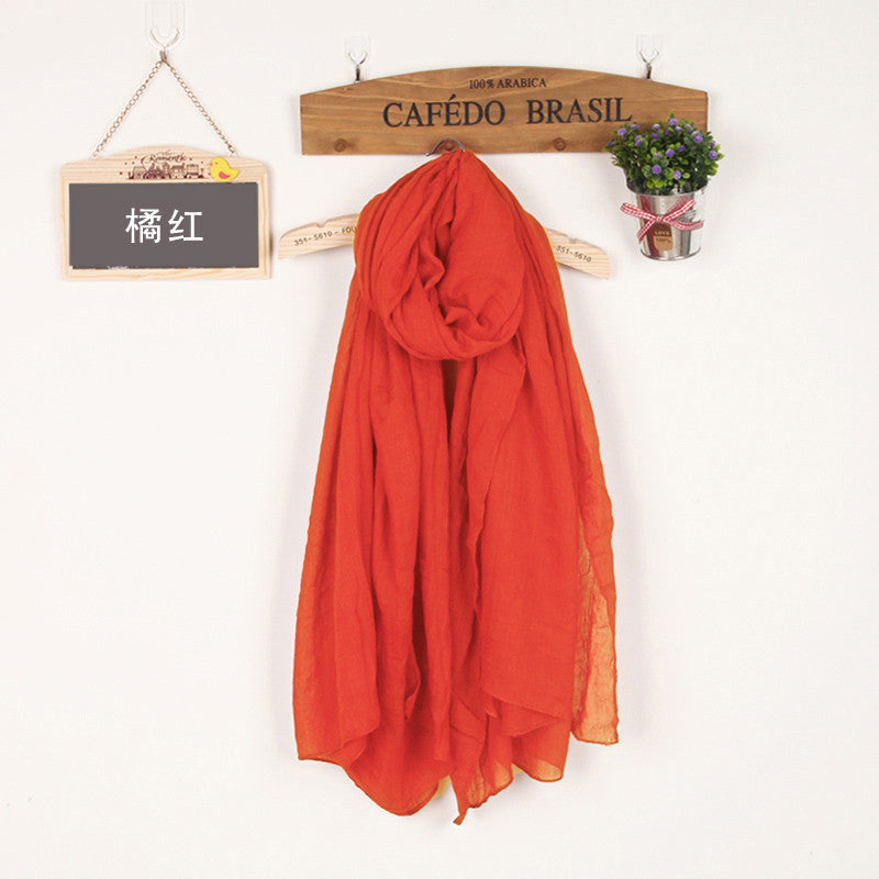 JKK Mart Winter and Autumn Scarf Women High Quality Shawls And Scarves Linen Cot orange, Scarves - JKK Mart, JKK Mart - 20