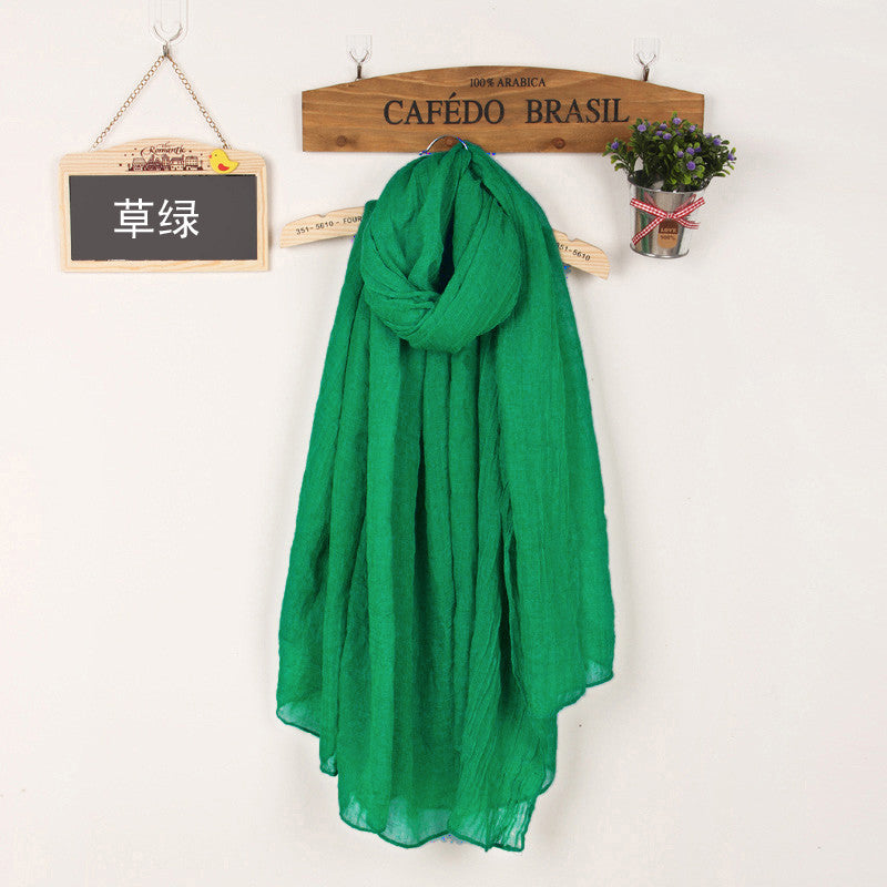 JKK Mart Winter and Autumn Scarf Women High Quality Shawls And Scarves Linen Cot grass green, Scarves - JKK Mart, JKK Mart - 15