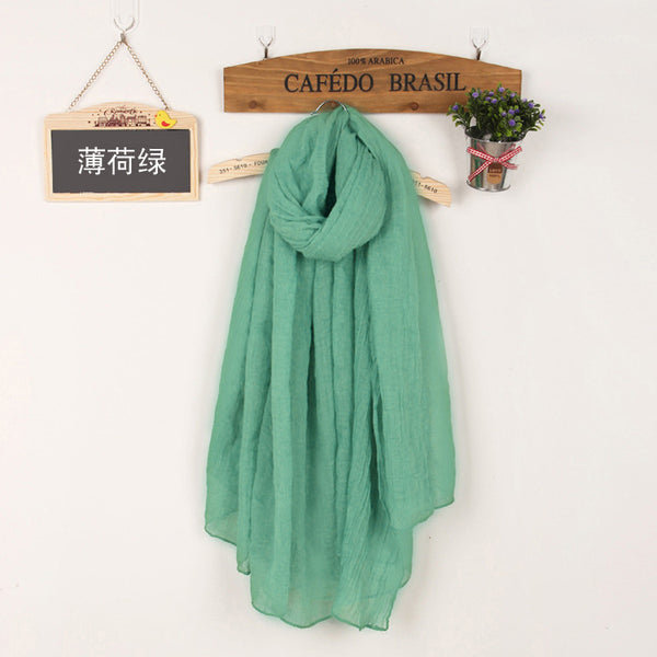 JKK Mart Winter and Autumn Scarf Women High Quality Shawls And Scarves Linen Cot mint green, Scarves - JKK Mart, JKK Mart - 26