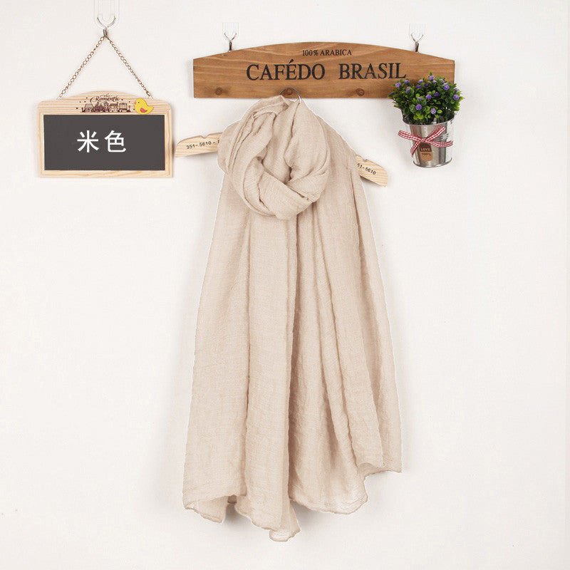 JKK Mart Winter and Autumn Scarf Women High Quality Shawls And Scarves Linen Cot beige, Scarves - JKK Mart, JKK Mart - 5