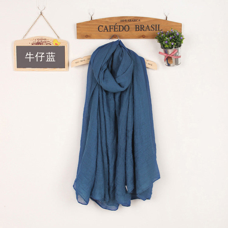 JKK Mart Winter and Autumn Scarf Women High Quality Shawls And Scarves Linen Cot denim blue, Scarves - JKK Mart, JKK Mart - 23