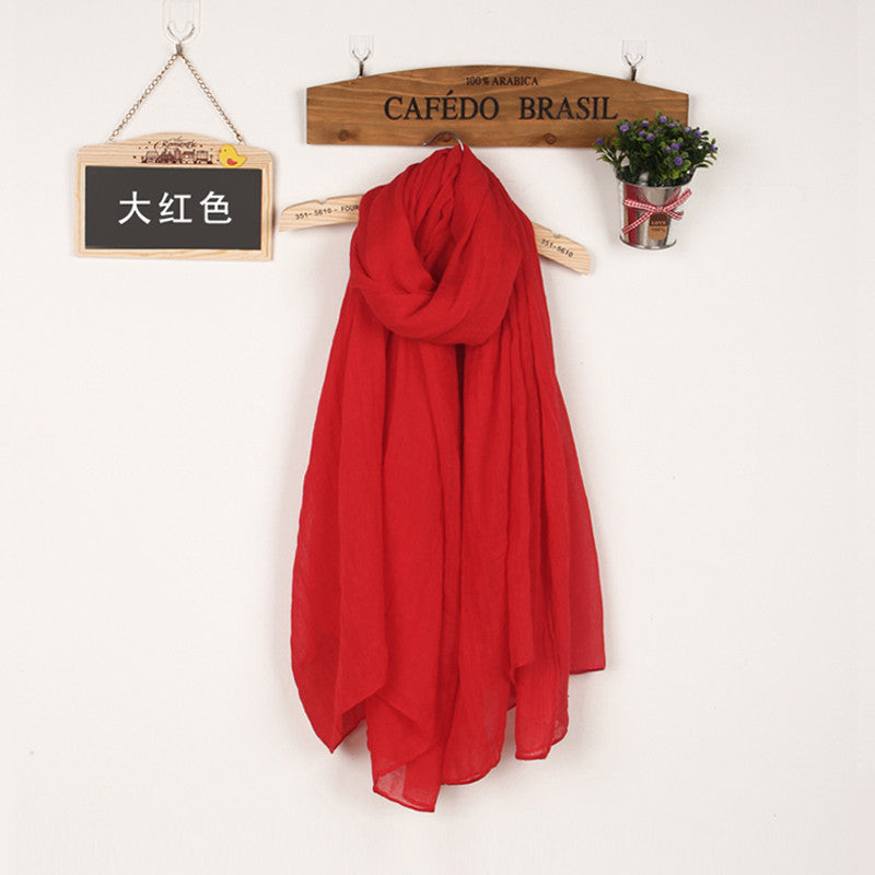 JKK Mart Winter and Autumn Scarf Women High Quality Shawls And Scarves Linen Cot red, Scarves - JKK Mart, JKK Mart - 18