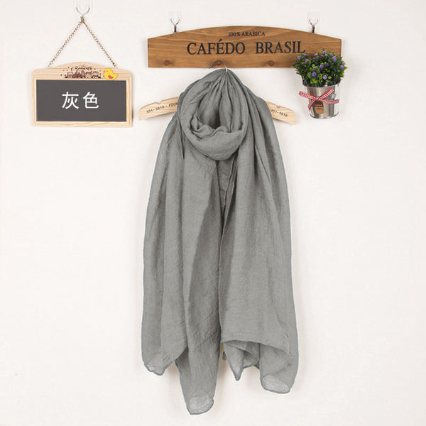 JKK Mart Winter and Autumn Scarf Women High Quality Shawls And Scarves Linen Cot Grey, Scarves - JKK Mart, JKK Mart - 19