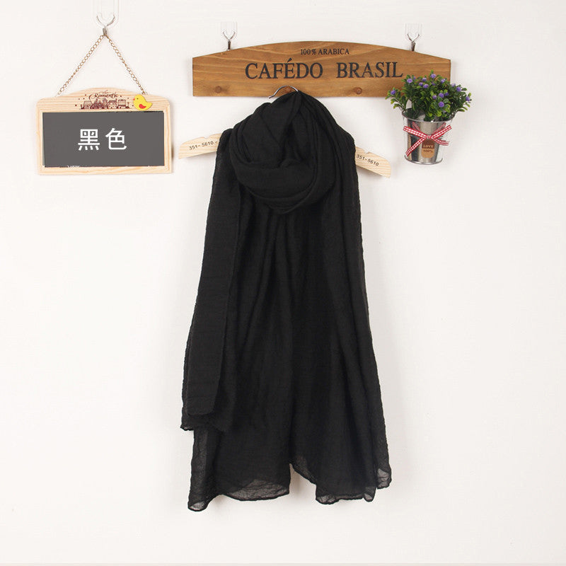 JKK Mart Winter and Autumn Scarf Women High Quality Shawls And Scarves Linen Cot black, Scarves - JKK Mart, JKK Mart - 17