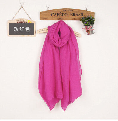 JKK Mart Winter and Autumn Scarf Women High Quality Shawls And Scarves Linen Cot rose red, Scarves - JKK Mart, JKK Mart - 14
