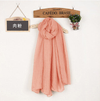 JKK Mart Winter and Autumn Scarf Women High Quality Shawls And Scarves Linen Cot pink, Scarves - JKK Mart, JKK Mart - 24