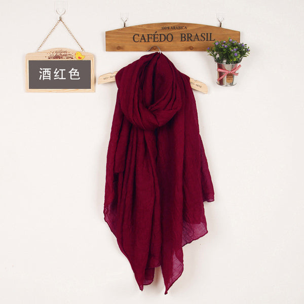 JKK Mart Winter and Autumn Scarf Women High Quality Shawls And Scarves Linen Cot claretred, Scarves - JKK Mart, JKK Mart - 4
